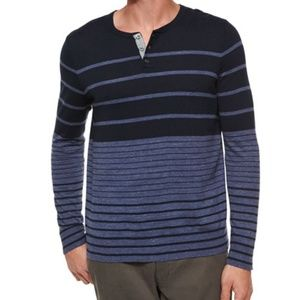 VINCE Striped Colorblock Knit Henley Tee Navy Sz L